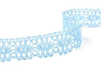 Cotton bobbin lace 75187, width 32 mm, light blue - 2