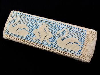 Cotton bobbin lace insert 75189, width77mm, ecru - 2