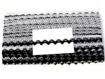 Paličkovaná krajka 75191 bavlněná, šířka15mm, bílá/černá - 2