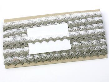 Paličkovaná krajka 75191 bavlněná, šířka15mm, bílá/tm.lněná - 2