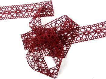 Cotton bobbin lace insert 75201, width35mm, cranberry - 2