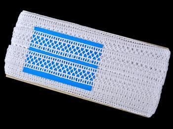 Cotton bobbin lace insert 75205, width27mm, white - 2