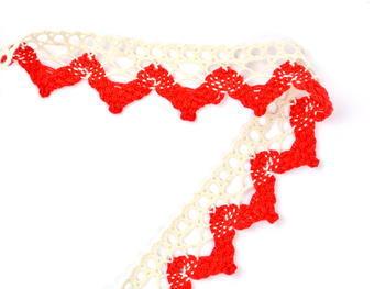Paličkovaná krajka vzor 75220 režná/červená | 30 m - 2