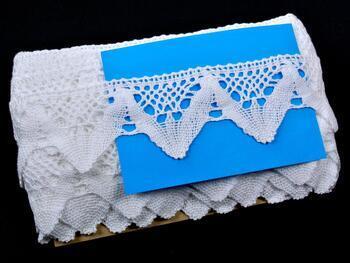 Paličkovaná krajka 75221 bavlněná, šířka 65 mm, bílá - 2
