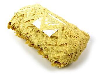 Paličkovaná krajka 75221 bavlněná, šířka 65 mm, světle žlutá - 2