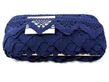 Paličkovaná krajka 75221 bavlněná, šířka 65 mm, modročerná - 2