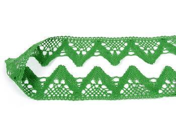 Paličkovaná krajka 75221 bavlněná, šířka 65 mm, trávová zelená - 2