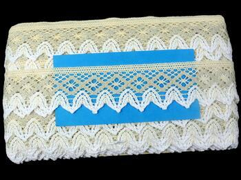 Cotton bobbin lace 75222, width 46 mm, ecru/light linen gray/white - 2