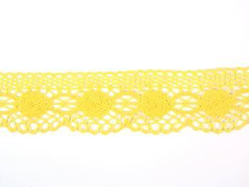 Paličkovaná krajka 75223 bavlněná, šířka 50 mm, žlutá - 2