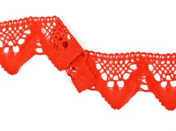 Cotton bobbin lace 75221, width 65 mm, red - 2