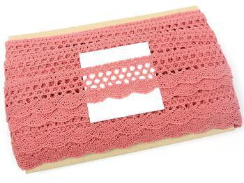 Cotton bobbin lace 75231, width 40 mm, rose - 2