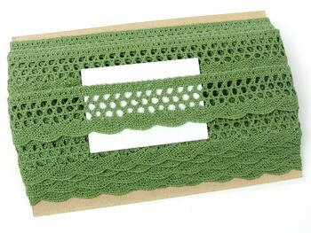 Paličkovaná krajka 75231 bavlněná, šířka 40 mm, zelená olivová - 2