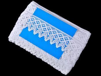 Cotton bobbin lace 75234, width 54 mm, white - 2