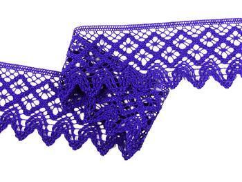 Paličkovaná krajka 75234 bavlněná, šířka54 mm, purpurová - 2