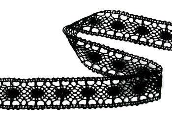 Paličkovaná vsadka vzor 75235 černá | 30 m - 2