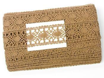 Cotton bobbin lace insert 75235, width43mm, dark beige - 2