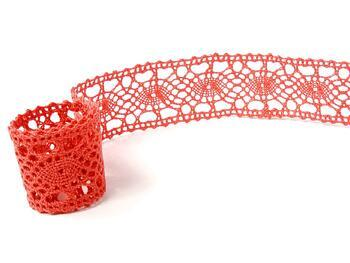 Cotton bobbin lace insert 75235, width43mm, red coral - 2