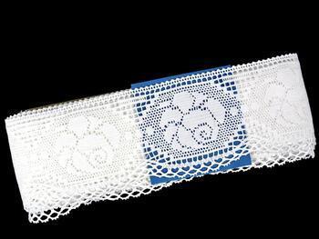 Cotton bobbin lace 75237, width80mm, white - 2
