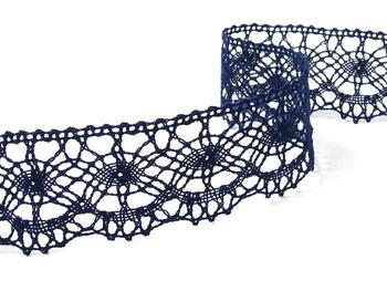Cotton bobbin lace 75238, width51mm, dark blue - 2