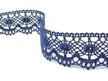 Cotton bobbin lace 75238, width51mm, blue - 2