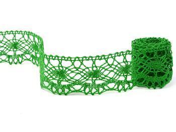 Cotton bobbin lace 75238, width 51 mm, grass green - 2