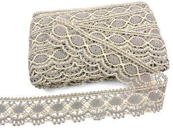 Bobbin lace No. 75238 dark linen/ecru | 30 m - 2