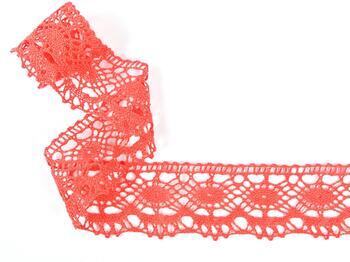 Cotton bobbin lace 75238, width 51 mm, light red coral - 2