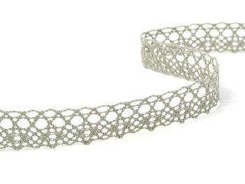 Cotton bobbin lace 75239, width 19 mm, dark linen gray - 2