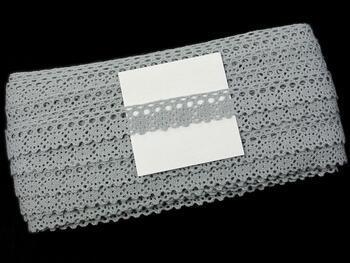 Cotton bobbin lace 75239, width 19 mm, 100% acryl, gray - 2