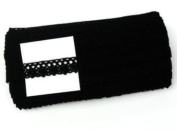 Cotton bobbin lace 75239, width 19 mm, 100% acryl, black - 2