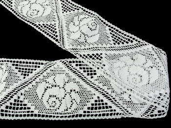 Paličkovaná vsadka vzor 75240 bílá | 30 m - 2