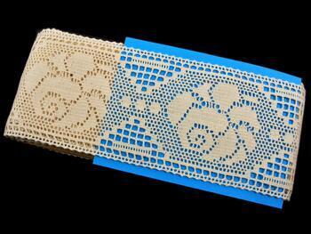 Cotton bobbin lace insert 75242, width97mm, ecru - 2