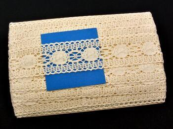 Paličkovaná vsadka 75249 bavlněná, šířka48 mm, režná - 2
