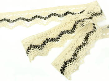 Bobbin lace No. 75251 creamy/dark brown | 30 m - 2