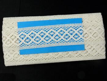 Cotton bobbin lace insert 75252, width45mm, ivory - 2