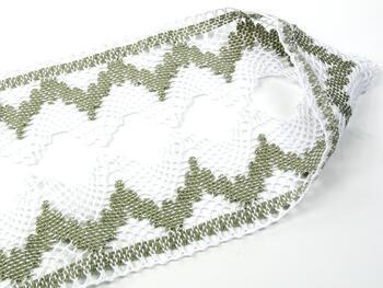 Cotton bobbin lace 75256, width 80 mm, white/dark linen gray - 2