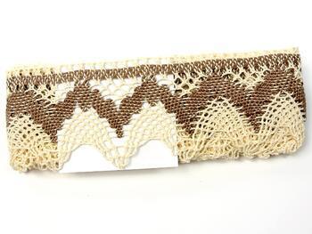 Cotton bobbin lace 75256, width80mm, ecru/dark beige - 2