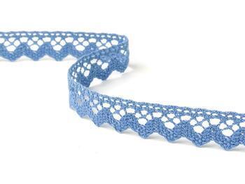 Cotton bobbin lace 75259, width 17 mm, sky blue - 2