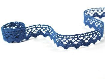 Paličkovaná krajka 75259 bavlněná, šířka17 mm, mořská modrá - 2