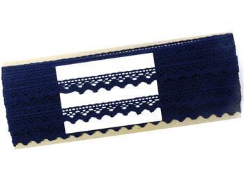 Cotton bobbin lace 75259, width 17 mm, black blue - 2