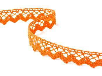 Paličkovaná krajka 75259 bavlněná, šířka17 mm, sytě oranžová - 2