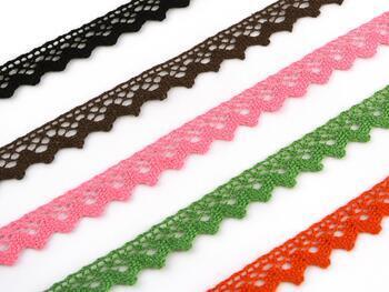 Cotton bobbin lace 75259, width 17 mm, dark brown - 2