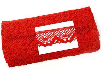 Paličkovaná krajka 75261 bavlněná, šířka40 mm, červená - 2