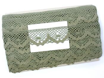Cotton bobbin lace 75261, width 40 mm, dark linen gray - 2