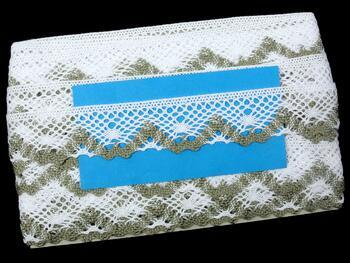 Cotton bobbin lace 75261, width 40 mm, white/dark linen gray - 2