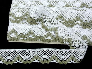 Bobbin lace No. 75261 white/dark linen | 30 m - 2