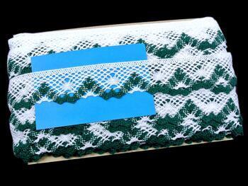 Paličkovaná krajka 75261 bavlněná, šířka40 mm, bílá/zelená - 2