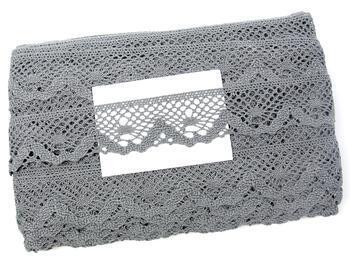 Paličkovaná krajka 75261 bavlněná, šířka40 mm, šedá - 2