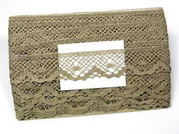 Linen bobbin lace 75261, width 40 mm, 100% linen natural - 2