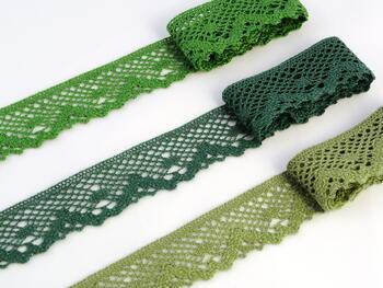 Paličkovaná krajka vzor 75261 zelená olivová | 30 m - 2